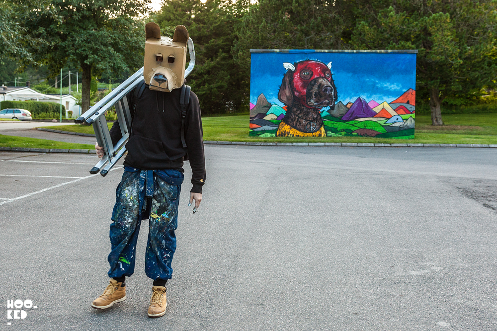 Teddy Badden, Sweden Street Art Mural in Falköping, Sweden. Photo ©Hookedblog / Mark Rigney
