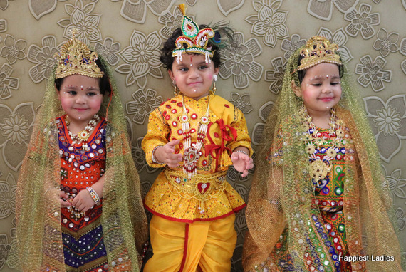 indian kids dressed as radha krishn