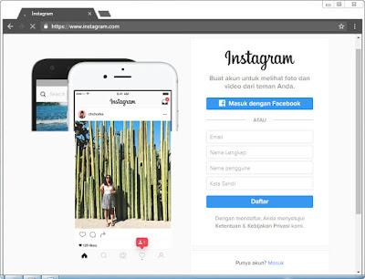 Daftar instagram melalui komputer pc atau laptop