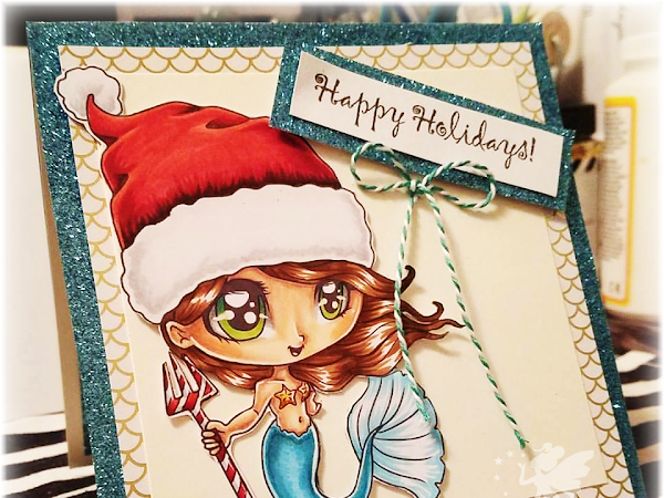 Happy Holidays Chibi Xmas Mermaid Card