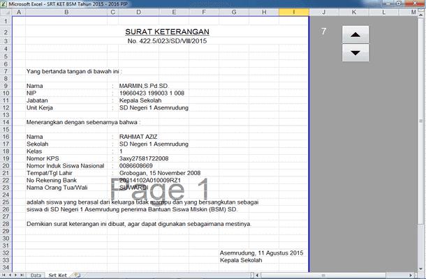 Aplikasi Surat Pencairan Dana PIP (Program Indonesia Pintar) dan BSM