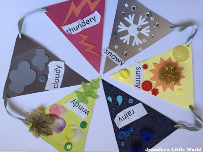 Making weather bunting craft for children