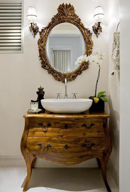 ideias decoração lavabo-comoda