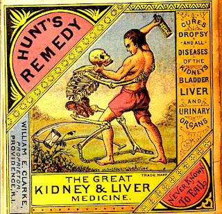 man in pink shorts raises bottle of Hunt's remedy over skeleton, attempting to vanquish death