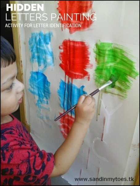 Using crayon resist painting for identifying letters - learning activity for toddlers