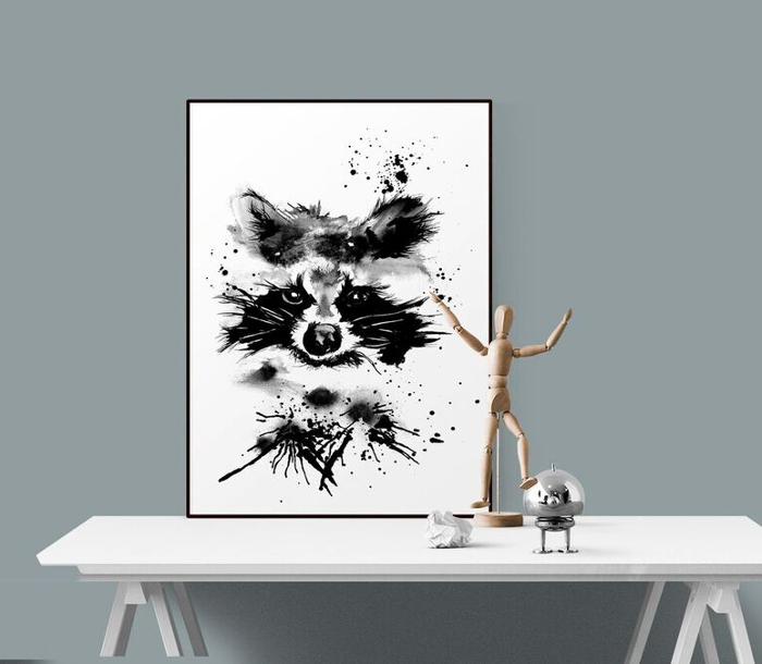 poster, psoters, tavla, tavlor, konsttryck, tvättbjörn, tvättbjörnar, print, prints, svart och vitt, svartvit, svartvita, annelies design, webbutik, webbutiker, webshop, inredning, inredningsdetaljer,