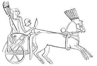 Ancient Egypt Coloring Book Page: Chariot With Riders