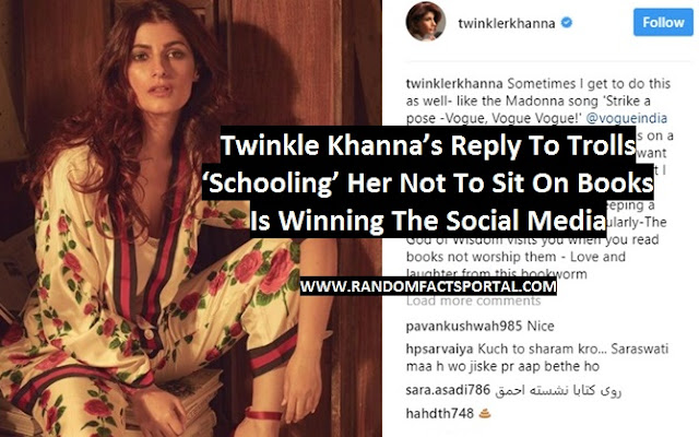 Twinkle Khanna's Reply To Trolls 'Schooling' Her Not To Sit On Books Is Winning The Social Media