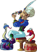 artwork of Vasu appraising a ring, with the Red and Blue Snake at his side