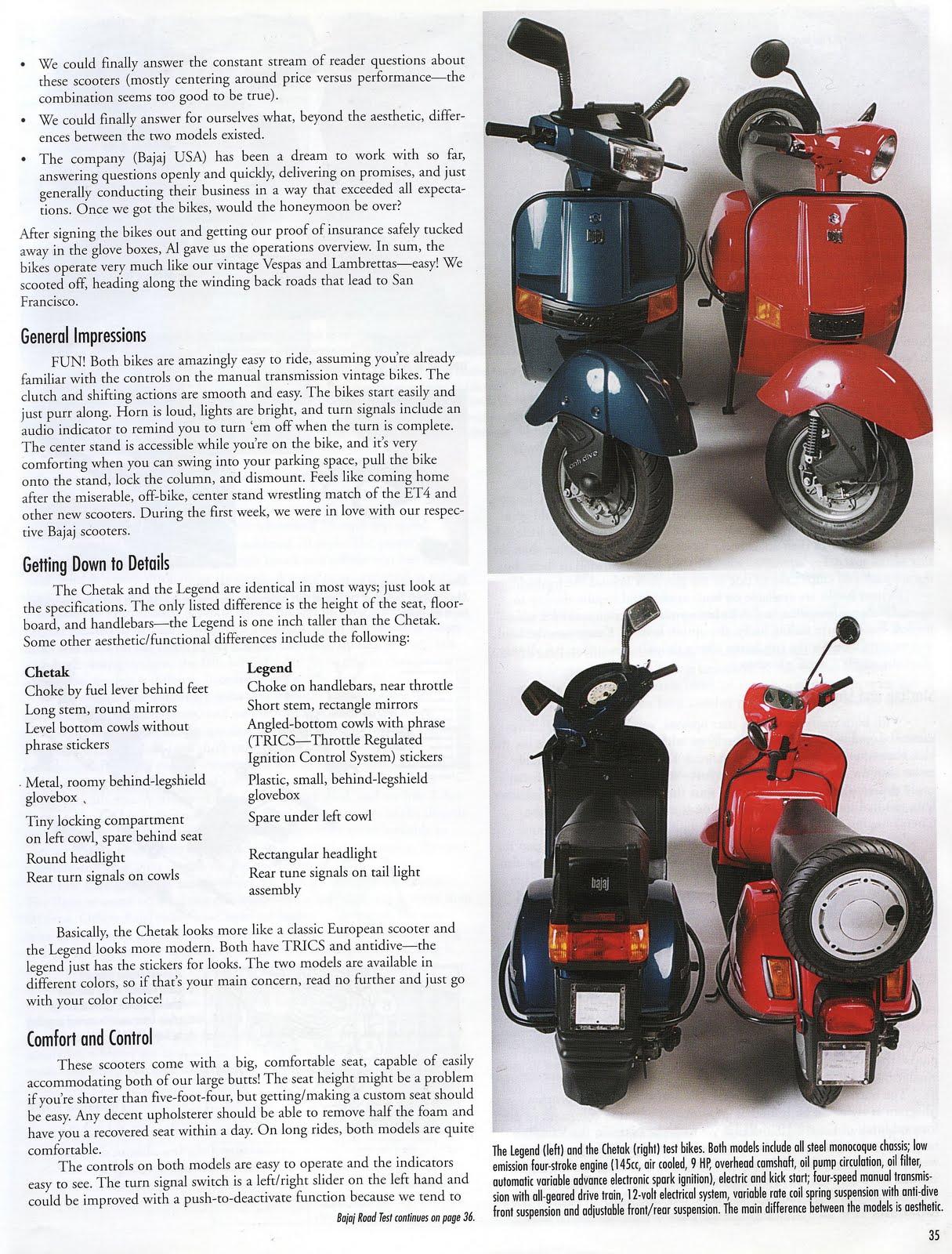 Scoot Quarterly's review of the Bajaj Chetak & Legend 2002
