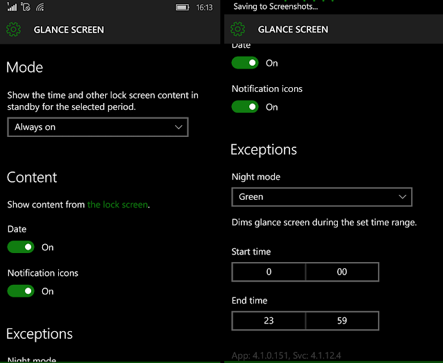 enable glance screen in Lumia 650