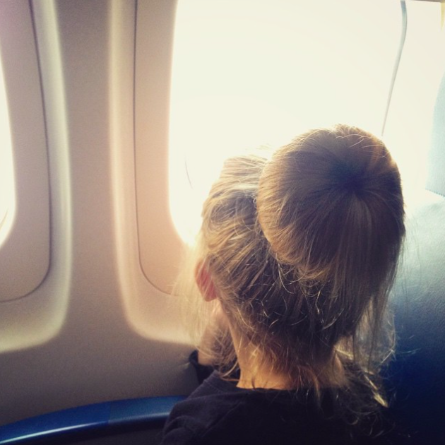 little girl on airplane
