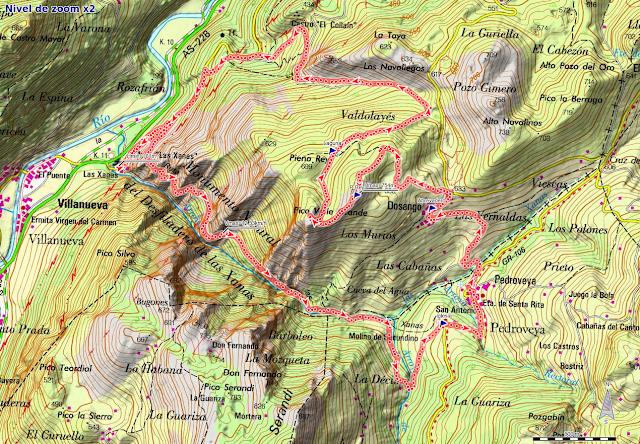 Mapa de la Ruta de las Xanas, Valdolayés y Peña Rey