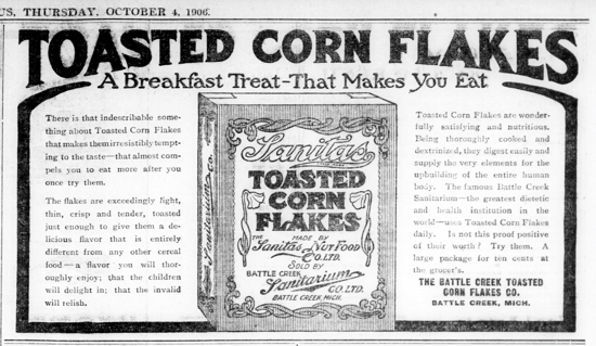 Sanitas Toasted Corn Flakes, advertising Oct. 4, 1906
