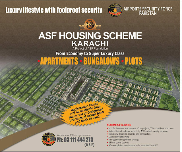 Bank AlFalah, ASF Housing Scheme Apartments Banglow Plots Registration Forms Askari Bank