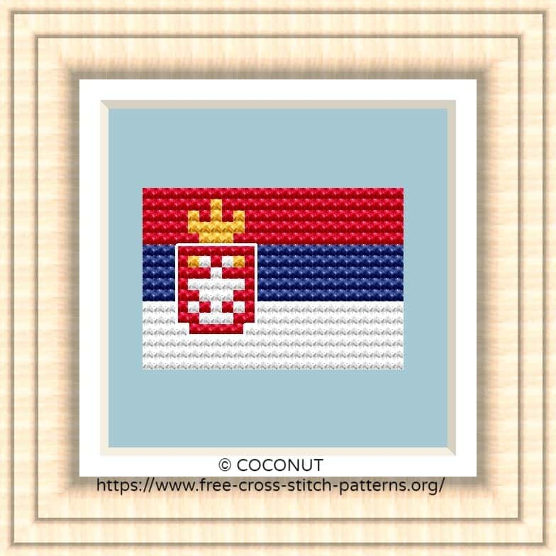 NATIONAL FLAG OF SERBIA CROSS STITCH CHART