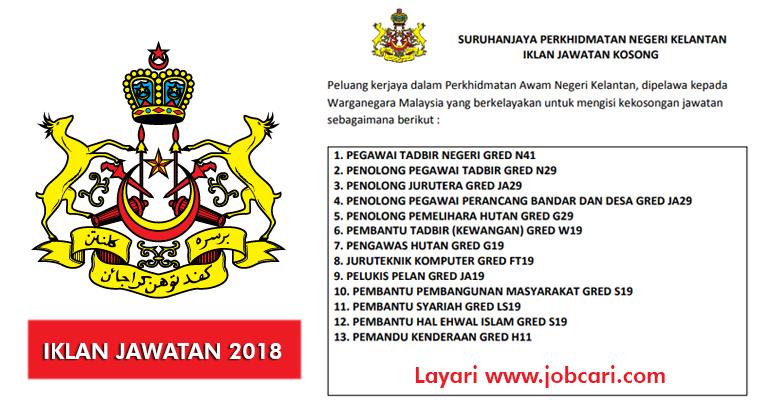 Jawatan Kosong di Suruhanjaya Perkhidmatan Negeri Kelantan 2018