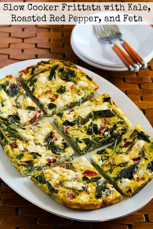 Slow Cooker Frittata with Kale, Roasted Red Pepper, and Feta from Kalyn's Kitchen featured for Casserole Crock Saturdays on SlowCookerFromScratch.com