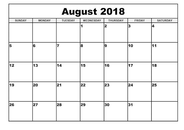 August 2018 calendar word, PDF