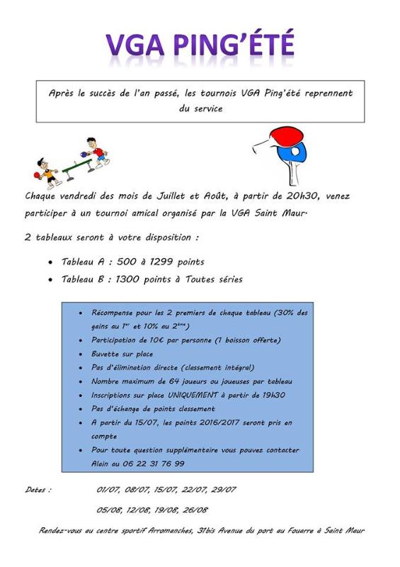 Le Blog De La Jam Tennis De Table Les Tournois D Ete De La Vga