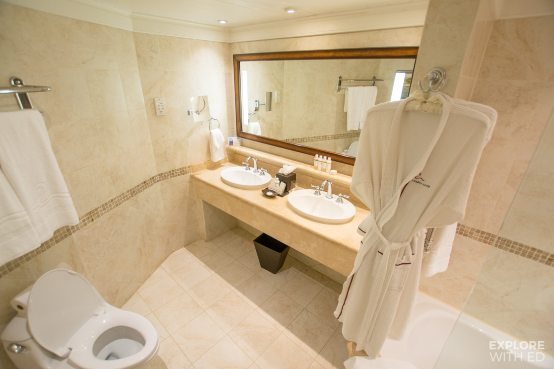 Toilet and sink area in a suite at The Colony Club hotel in Barbados