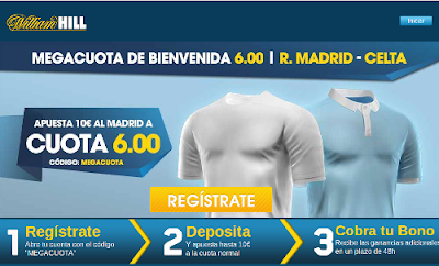 williamhill megacuota liga Real Madrid gana Celta 6 euros 5 marzo