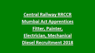 Central Railway RRCCR Mumbai Act Apprentices Fitter, Painter, Electrician, Mechanical Diesel Recruitment 2018 2573 Govt Jobs