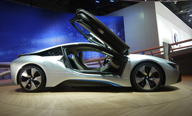 BMW i8 production version pictured at Frankfurt 2013 Motor Show