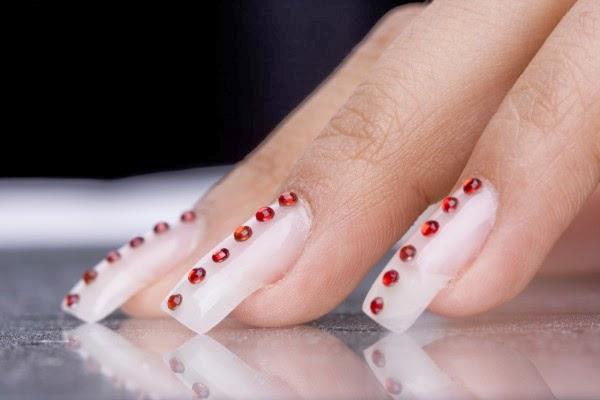 Uñas Acrilicas Rojas Decoradas Con Piedras Sin Categoría Imagenes