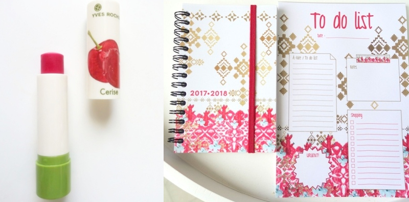 Yves Rocher lip balm Cherry planner gift after purchase to do list note pad
