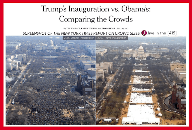 "A screenshot of the ""New York Times"" inauguration crowd size story with side by side photos of 2009 and 2017.."