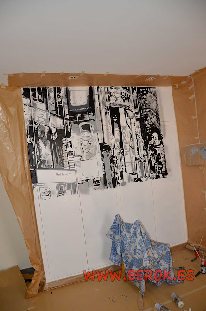 Decoración de graffiti en armario empotrado