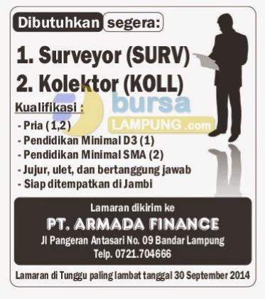 KARIR LAMPUNG PT.ARMADA FINANCE
