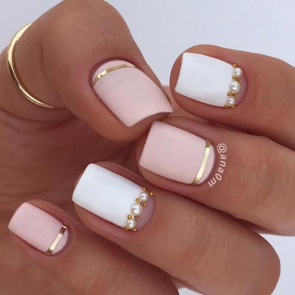nude nail design for short nails