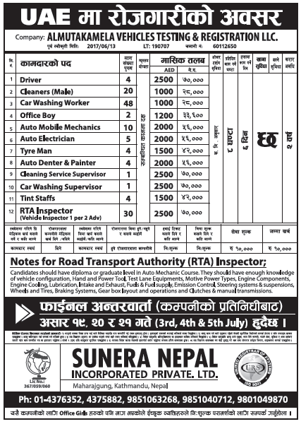 Jobs in UAE for Nepali, Salary Rs 70,000
