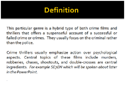 AS Media Coursework Conventions Of Crime Thriller Genre