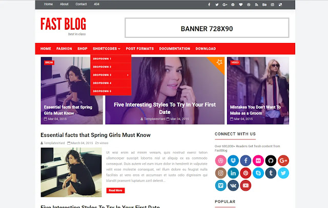 Fastblog Responsive Magazine Personal Blog Tutorial Viral Trending Sites News Faster Loading Blogger Template Theme