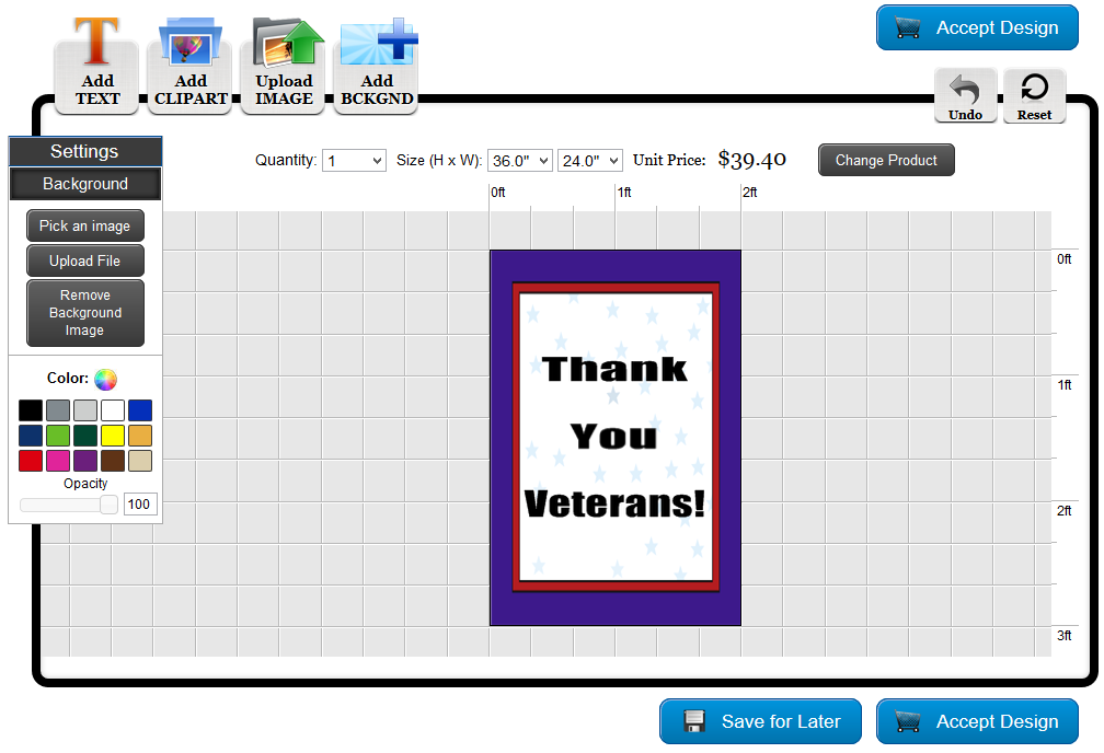 Veteran's Day Pole Banner Template in the Online Designer | Banners.com