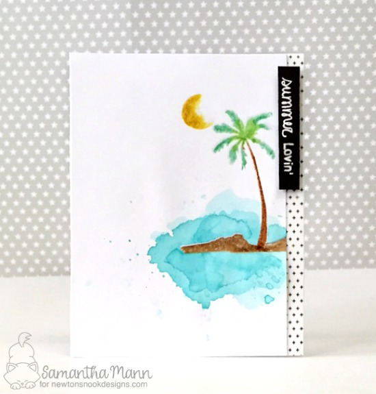 Summer watercolor palm tree card by Samantha  Mann | Paradise Palms stamp set by Newton's Nook Deisgns