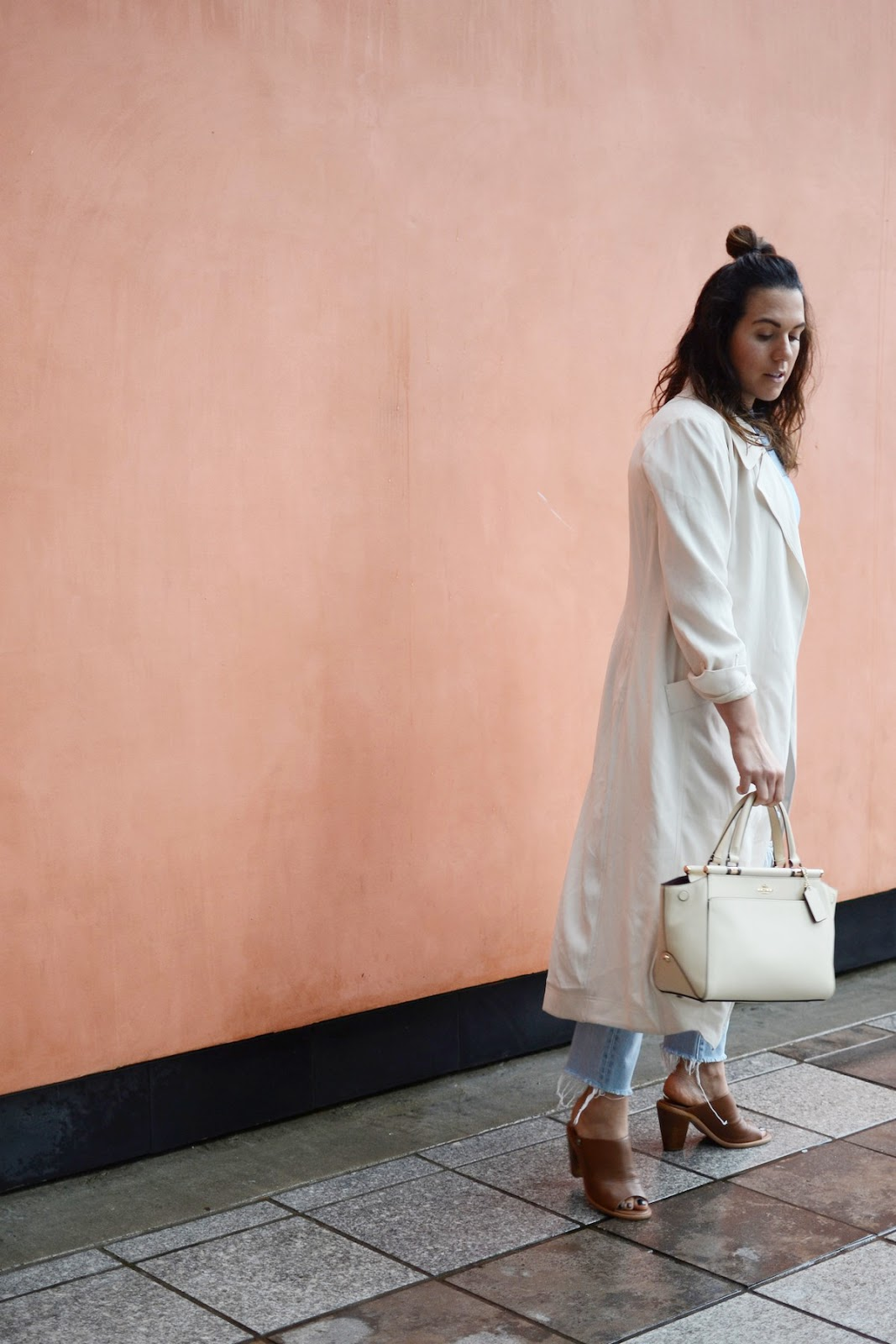 Coach Selena bag cream bag outfit vancouver fashion blogger Aritzia Kahlo jacket levi's wedgie jeans outfit