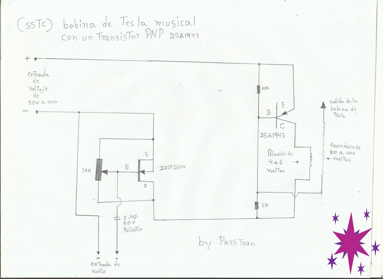 Circuito Bobina De Tesla : Ponyelectronica bobina de tesla musical con un transistor de