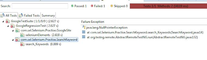 Java Lang NullPointerException in Selenium