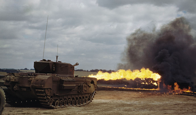 Churchill Crocodile flamethrower tank color photos of World War II worldwartwo.filminspector.com