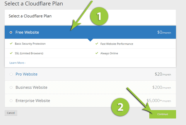 which cloudfare plan you should select for blogger custom domain name.