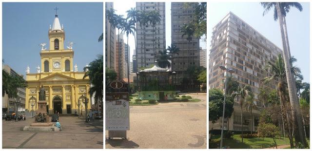 Catedral de Campinas, Praça Carlos Gomes e seu coreto e prefeitura.