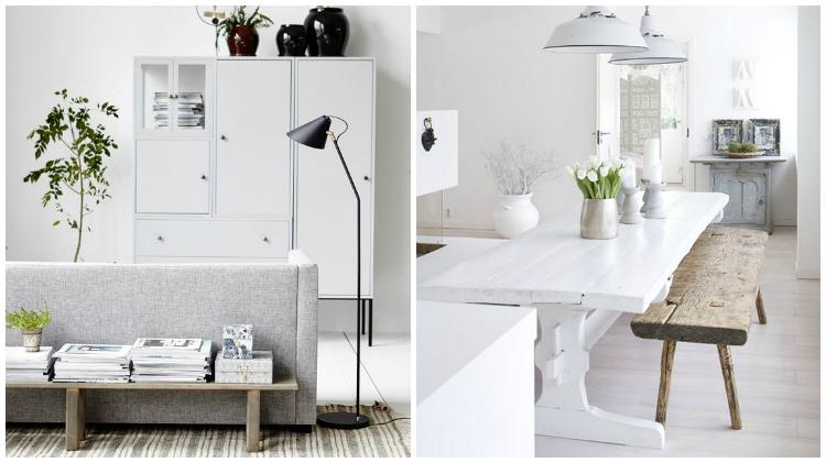 Bancos rústicos en ambientes nórdicos |Decoración nórdica con toques rústicos by Habitan2| Decoración handmade para hogar y eventos