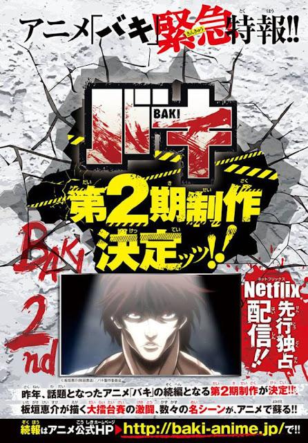 "Confirmada segunda temporada para el anime ""Baki"" (グラップラー刃牙)."