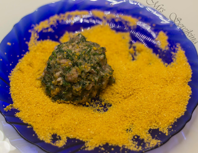 Meatballs with spinach and cheese: step 5