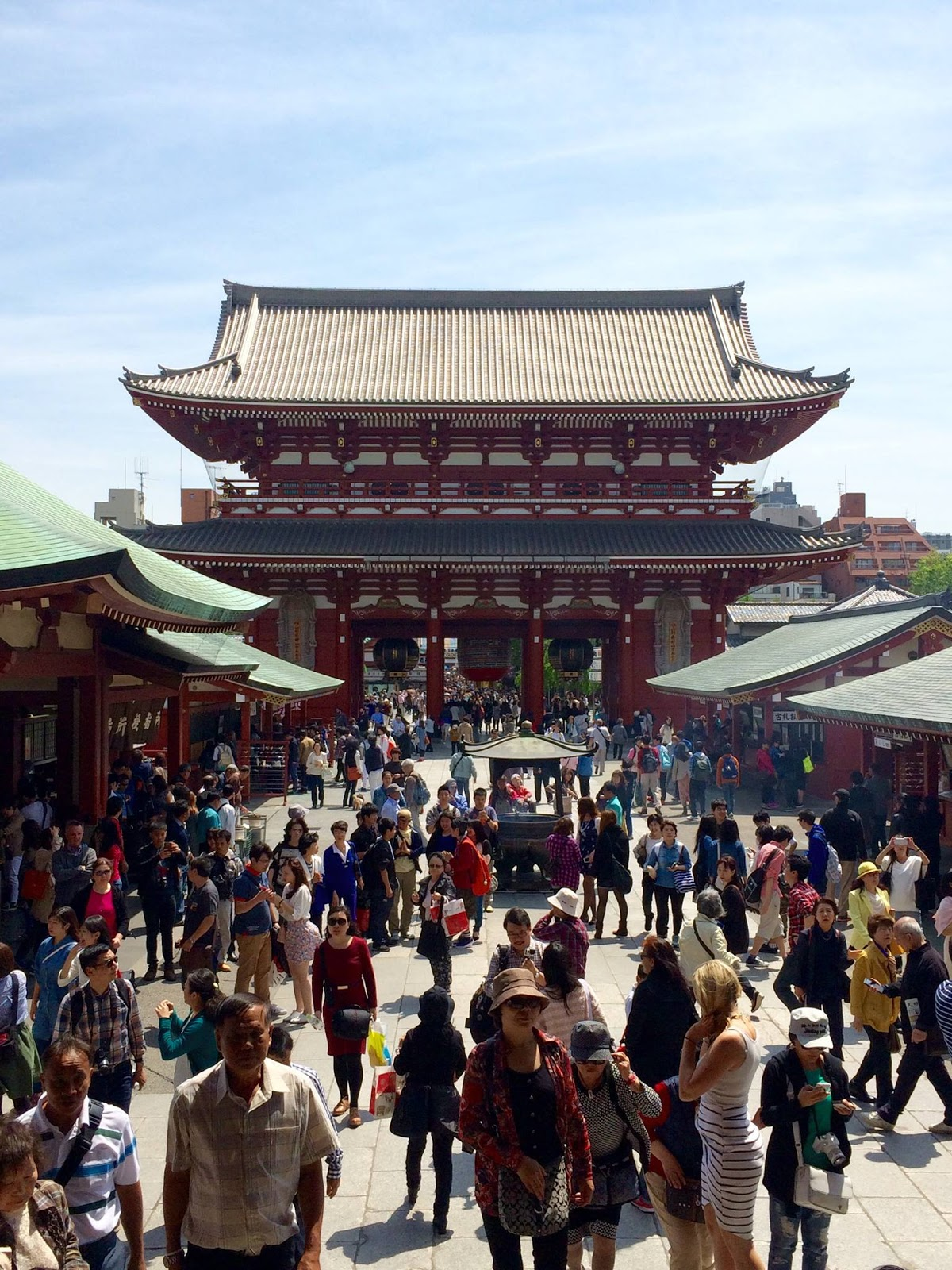 Crowds roam the grounds of Senso-ji temple in Asakusa, Tokyo - April 2015