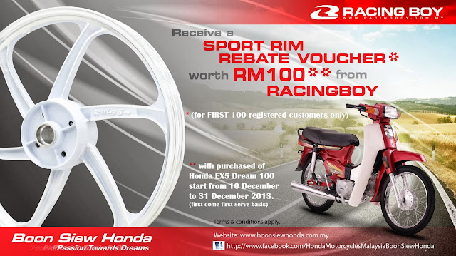 Tawaran Rebat RM100 Sport Rim Racing Boy Untuk Honda EX5 Dream Dari Boon Siew Honda